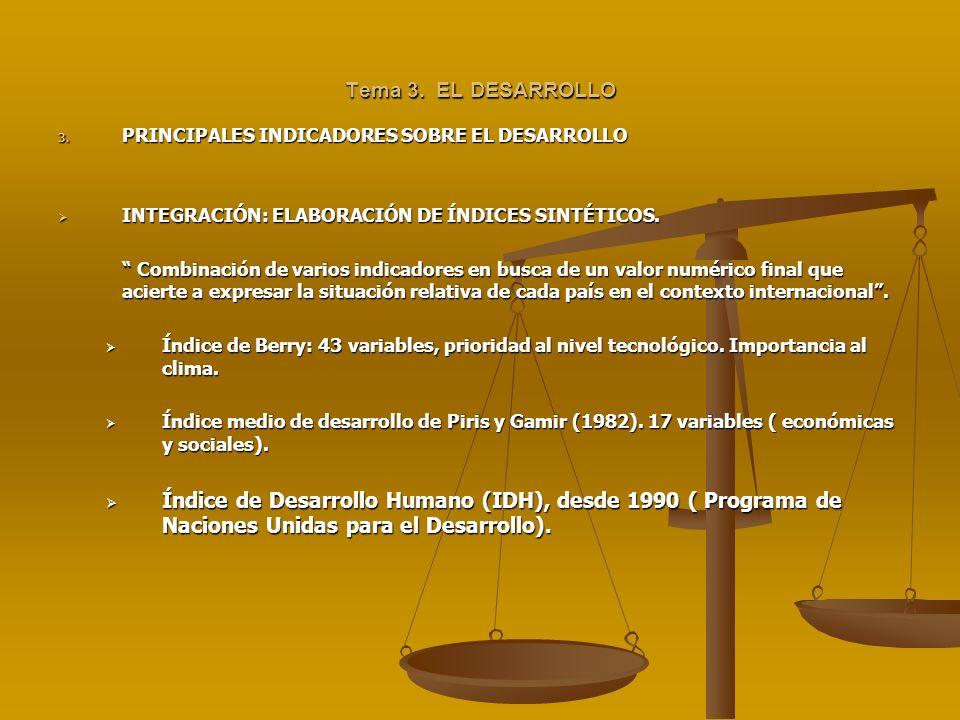 Tema 3. EL DESARROLLO PRINCIPALES INDICADORES SOBRE EL DESARROLLO. INTEGRACIÓN: ELABORACIÓN DE ÍNDICES SINTÉTICOS.