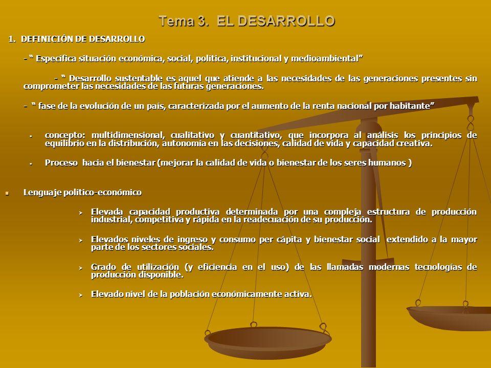 Tema 3. EL DESARROLLO1. DEFINICIÓN DE DESARROLLO. - Específica situación económica, social, política, institucional y medioambiental