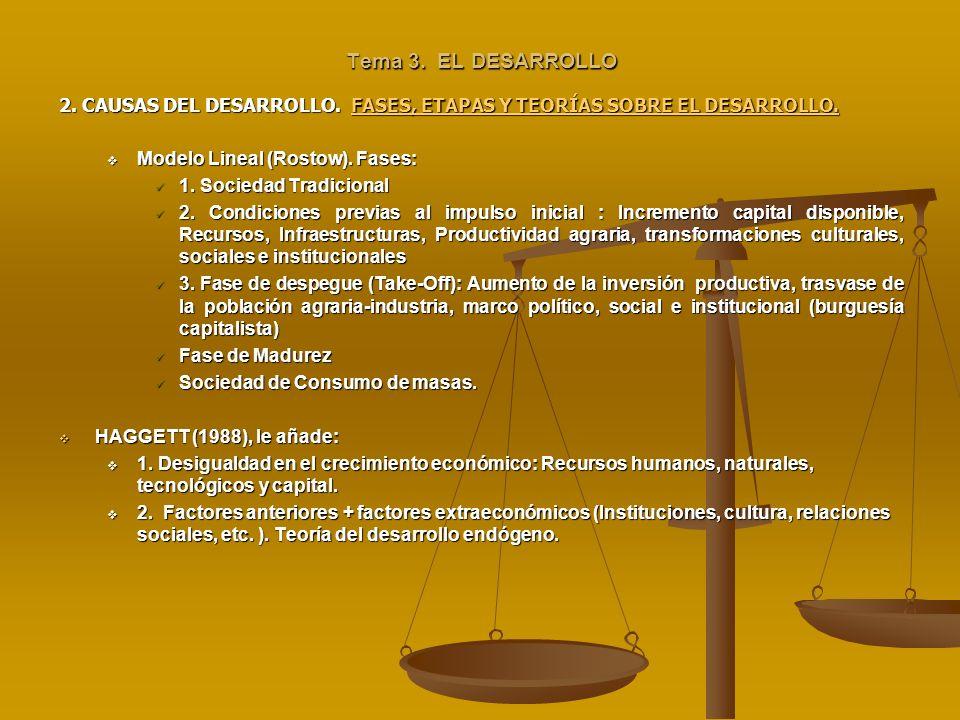 Tema 3. EL DESARROLLO2. CAUSAS DEL DESARROLLO. FASES, ETAPAS Y TEORÍAS SOBRE EL DESARROLLO. Modelo Lineal (Rostow). Fases: