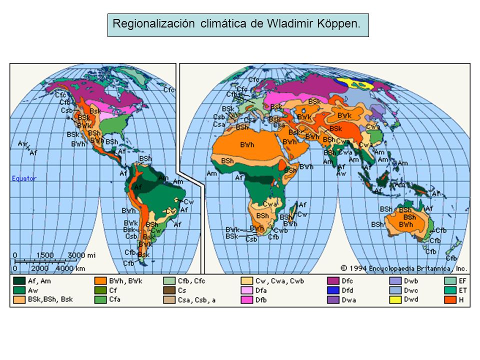 Regionalización climática de Wladimir Köppen.