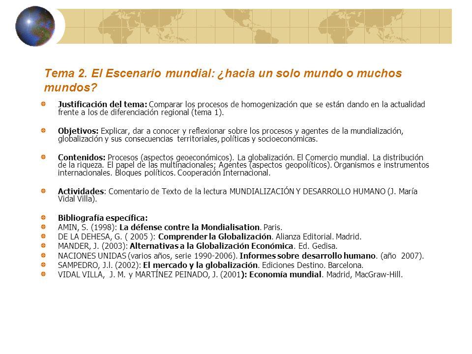 Tema 2. El Escenario mundial: ¿hacia un solo mundo o muchos mundos