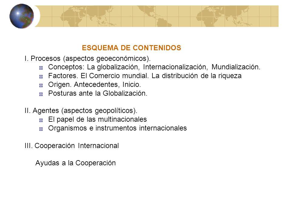 ESQUEMA DE CONTENIDOS I. Procesos (aspectos geoeconómicos). Conceptos: La globalización, Internacionalización, Mundialización.