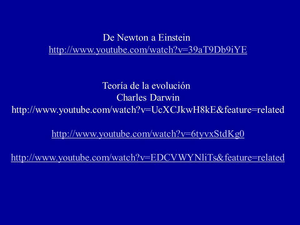 De Newton a Einstein http://www.youtube.com/watch v=39aT9Db9iYE. Teoría de la evolución. Charles Darwin.