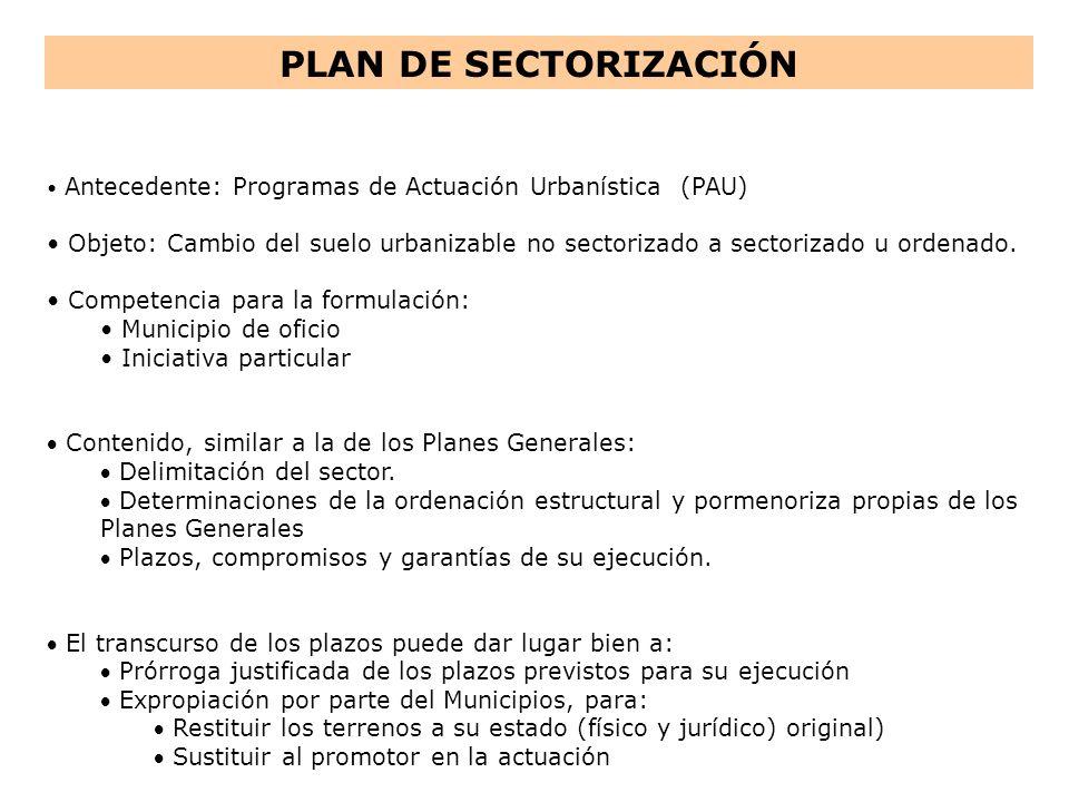 PLAN DE SECTORIZACIÓN Antecedente: Programas de Actuación Urbanística (PAU)