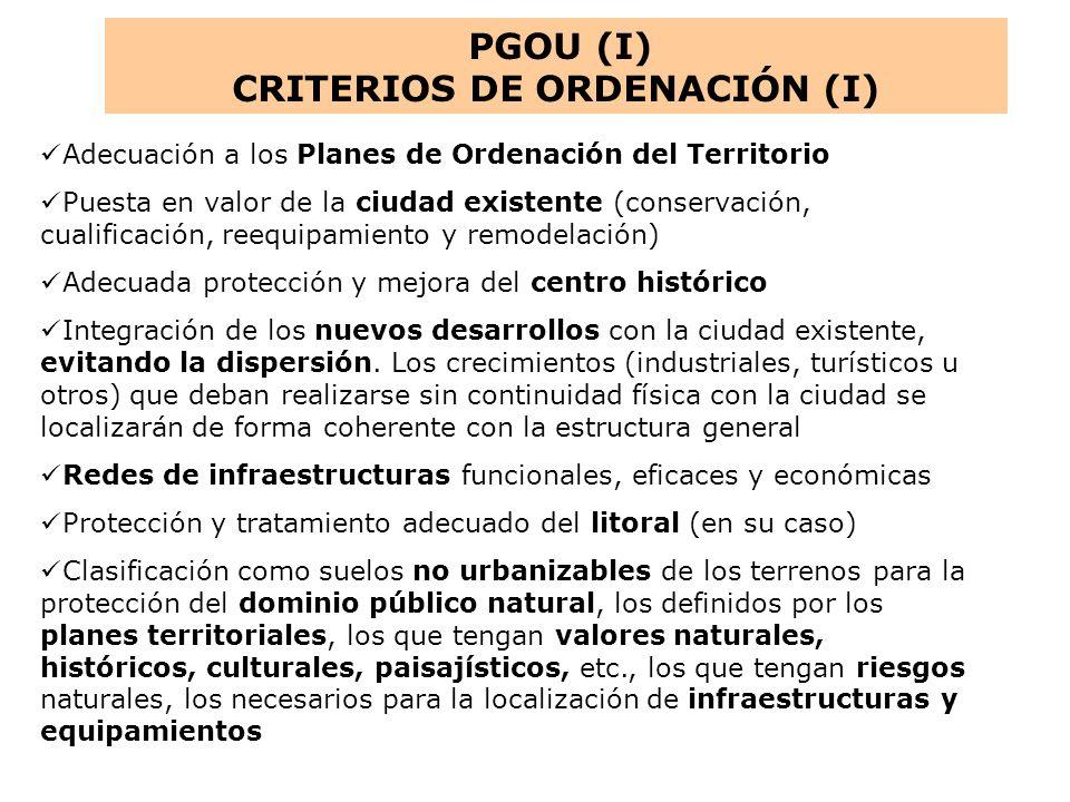 CRITERIOS DE ORDENACIÓN (I)