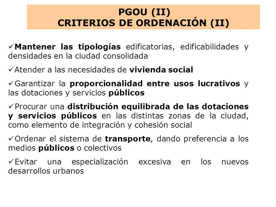 CRITERIOS DE ORDENACIÓN (II)