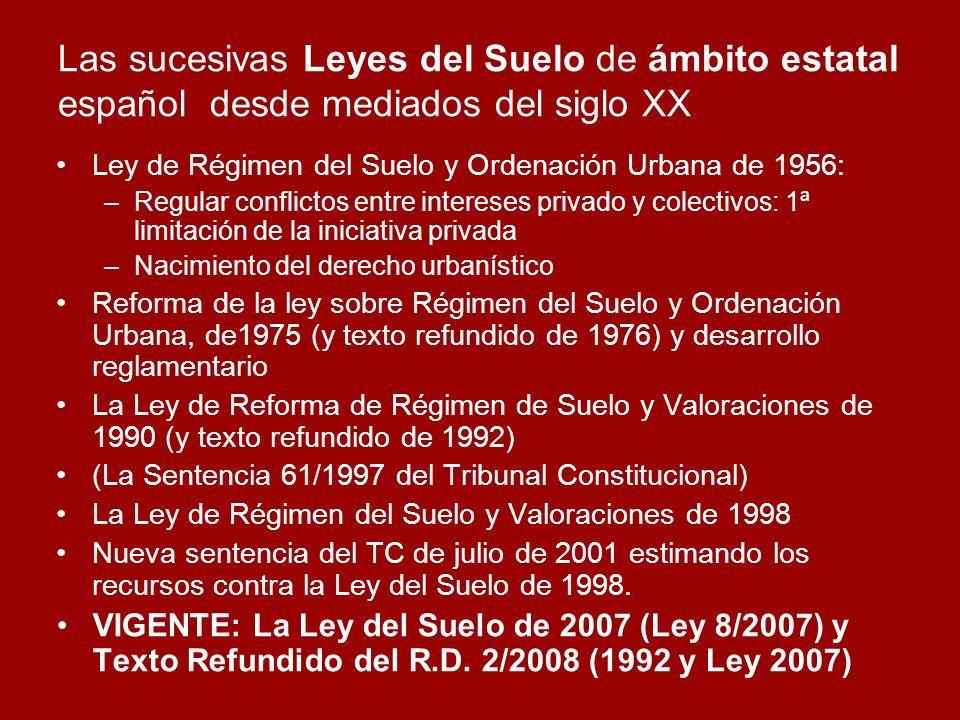 Las sucesivas Leyes del Suelo de ámbito estatal español desde mediados del siglo XX