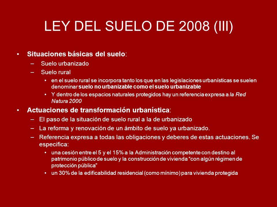 LEY DEL SUELO DE 2008 (III) Situaciones básicas del suelo: