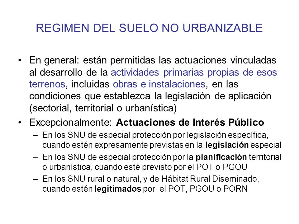 REGIMEN DEL SUELO NO URBANIZABLE