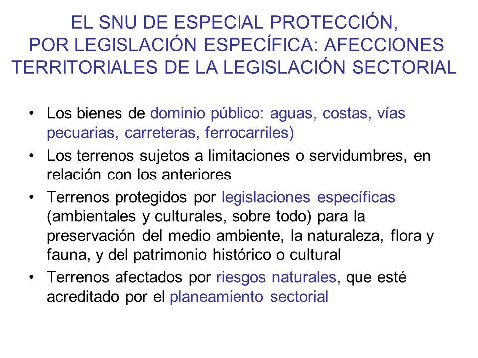 EL SNU DE ESPECIAL PROTECCIÓN, POR LEGISLACIÓN ESPECÍFICA: AFECCIONES TERRITORIALES DE LA LEGISLACIÓN SECTORIAL
