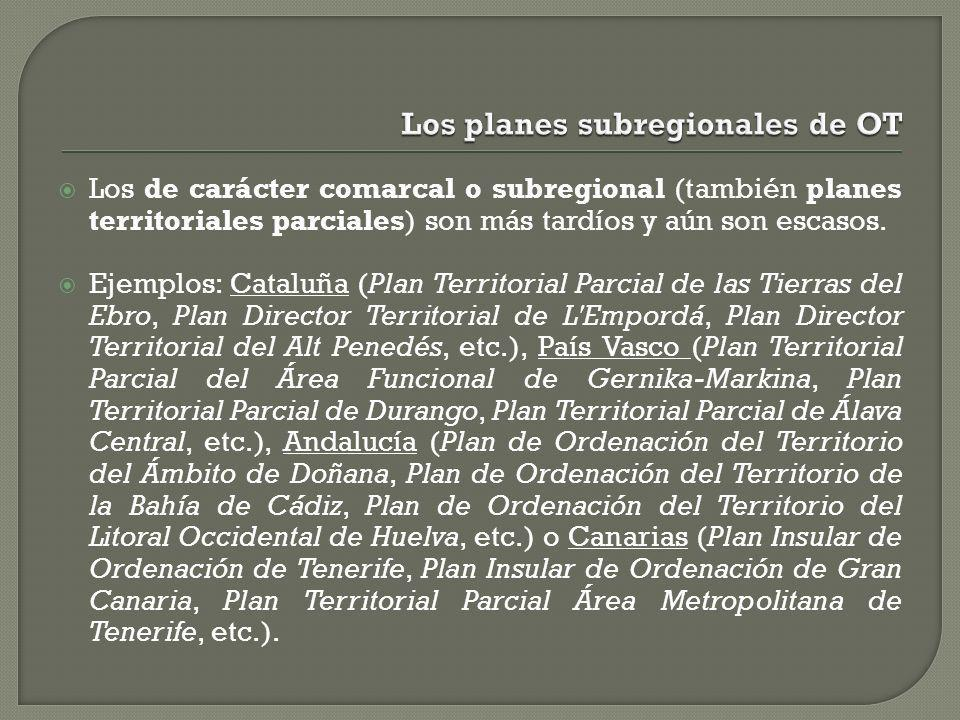 Los planes subregionales de OT