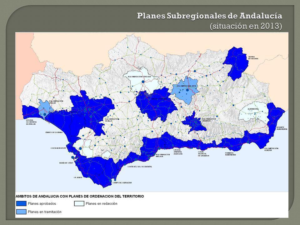 Planes Subregionales de Andalucía (situación en 2013)