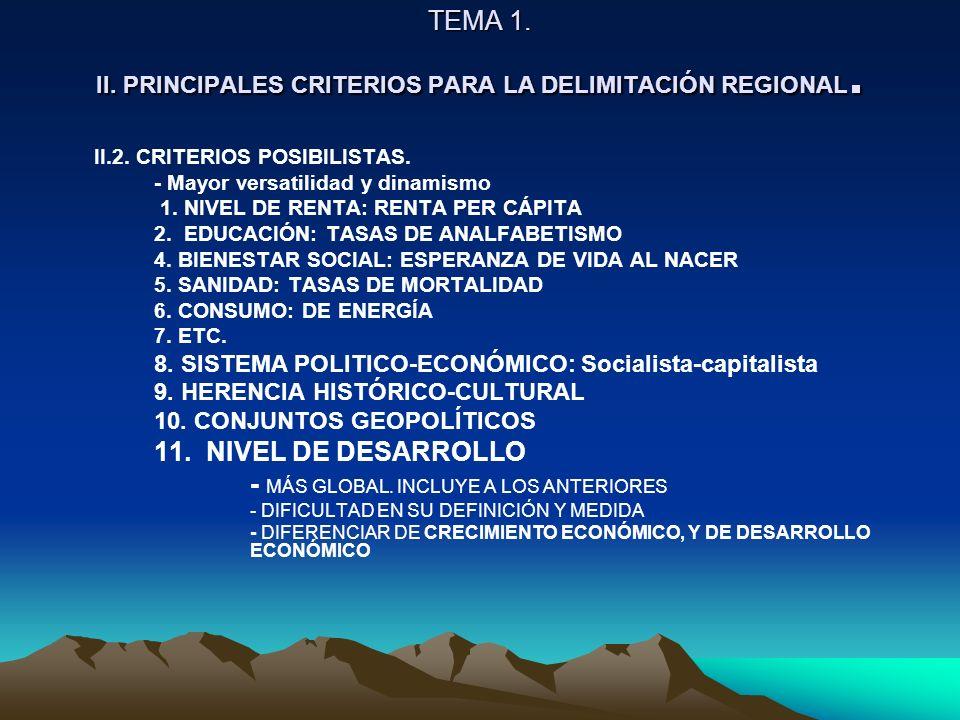 TEMA 1. II. PRINCIPALES CRITERIOS PARA LA DELIMITACIÓN REGIONAL.