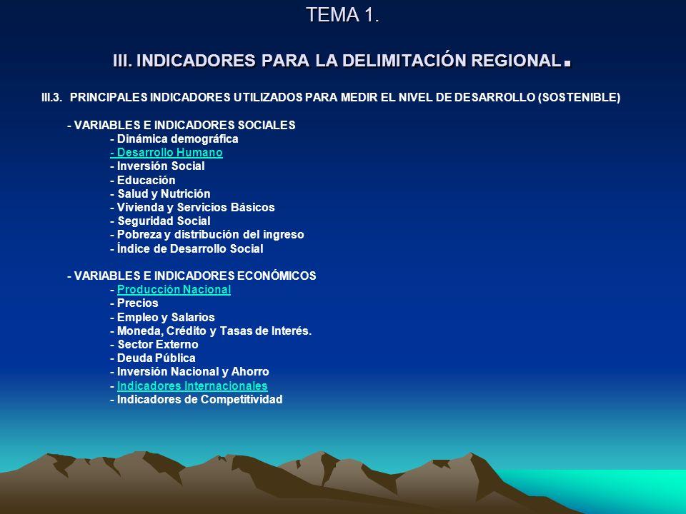 TEMA 1. III. INDICADORES PARA LA DELIMITACIÓN REGIONAL.