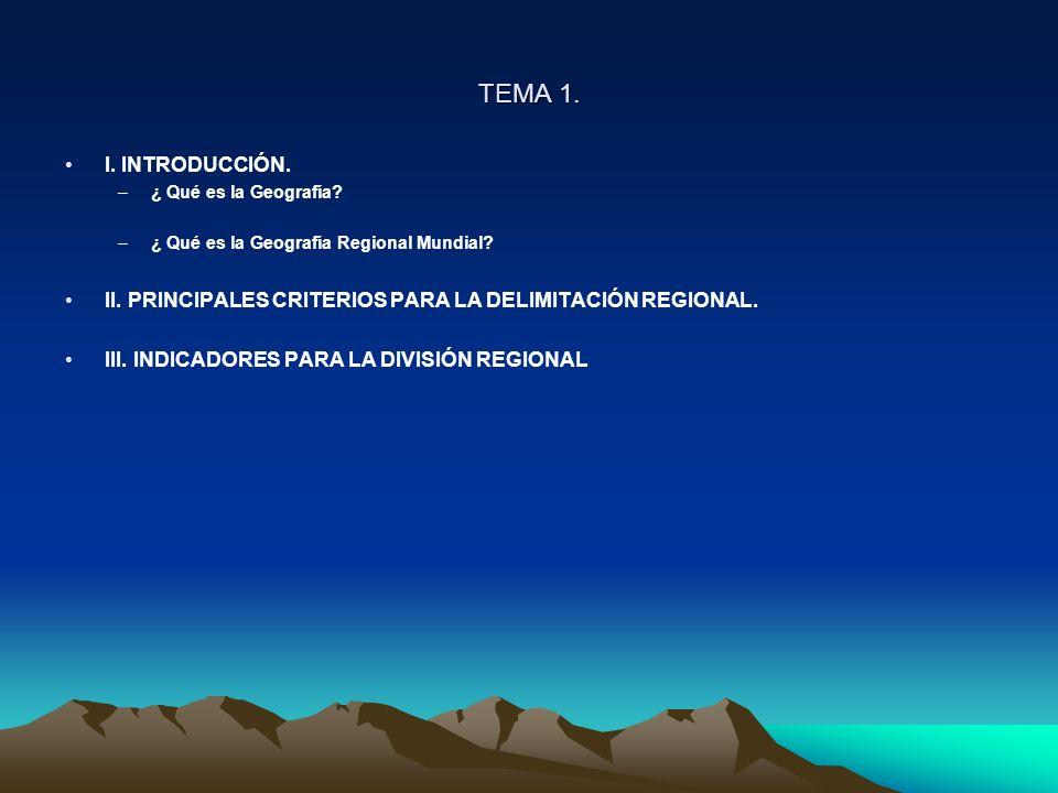 TEMA 1. I. INTRODUCCIÓN. ¿ Qué es la Geografía ¿ Qué es la Geografía Regional Mundial II. PRINCIPALES CRITERIOS PARA LA DELIMITACIÓN REGIONAL.