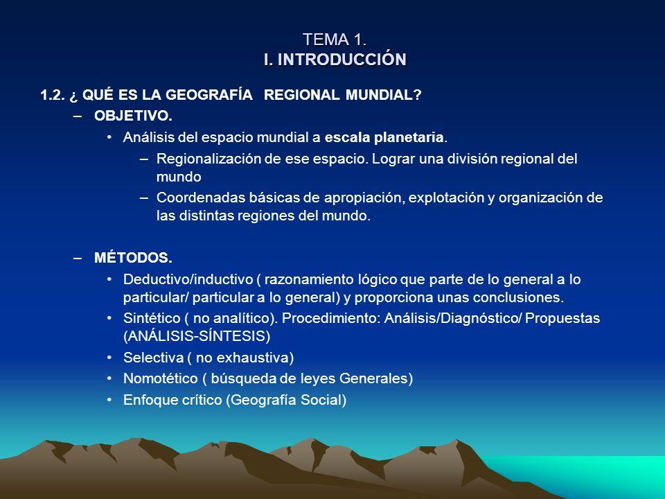 TEMA 1. I. INTRODUCCIÓN 1.2. ¿ QUÉ ES LA GEOGRAFÍA REGIONAL MUNDIAL