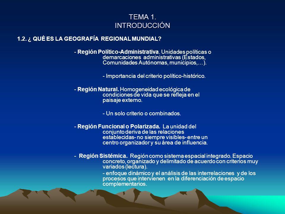 TEMA 1. INTRODUCCIÓN 1.2. ¿ QUÉ ES LA GEOGRAFÍA REGIONAL MUNDIAL