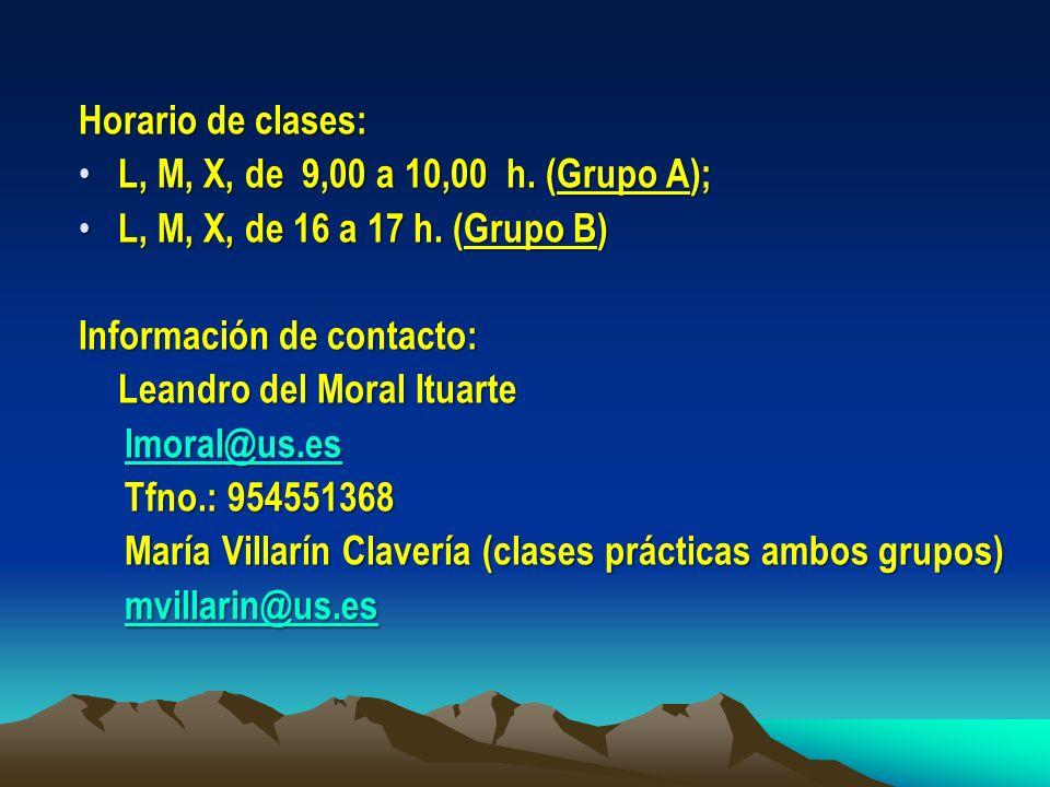 Horario de clases: L, M, X, de 9,00 a 10,00 h. (Grupo A); L, M, X, de 16 a 17 h. (Grupo B) Información de contacto: