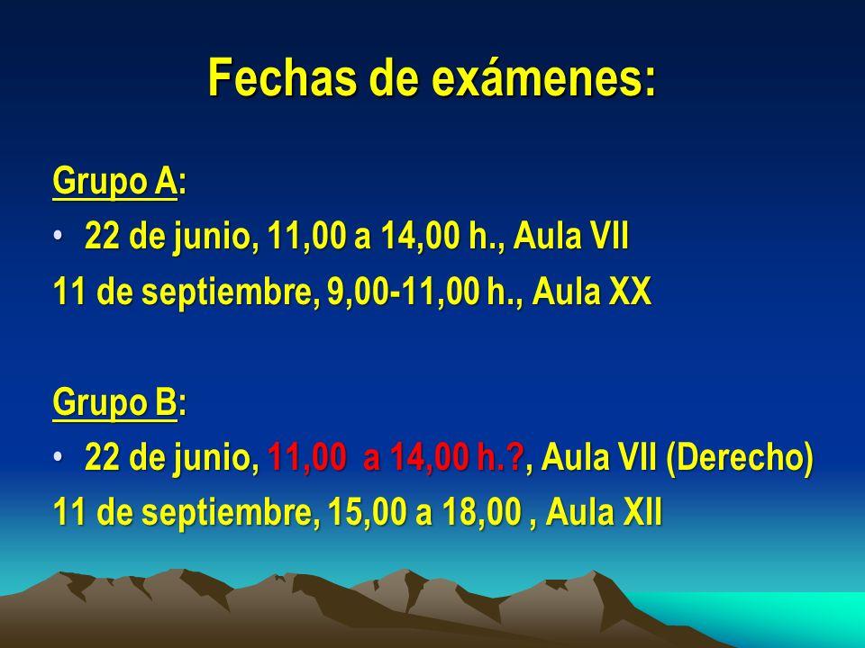 Fechas de exámenes: Grupo A: 22 de junio, 11,00 a 14,00 h., Aula VII
