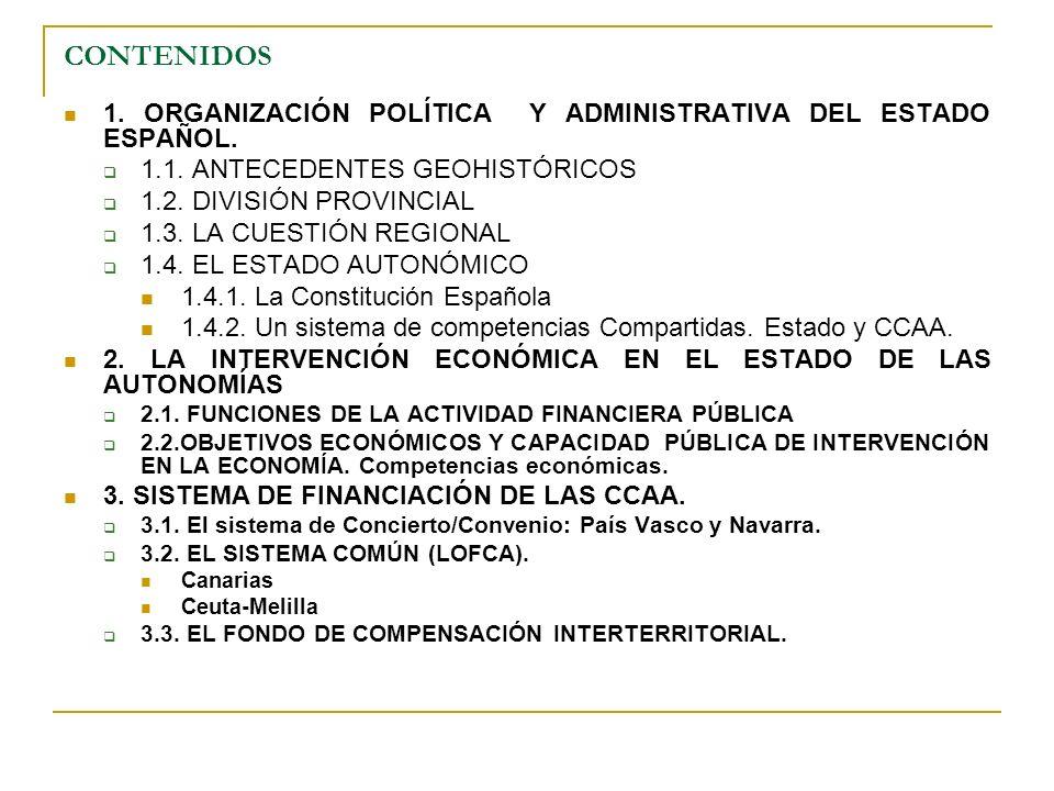 CONTENIDOS 1. ORGANIZACIÓN POLÍTICA Y ADMINISTRATIVA DEL ESTADO ESPAÑOL. 1.1. ANTECEDENTES GEOHISTÓRICOS.