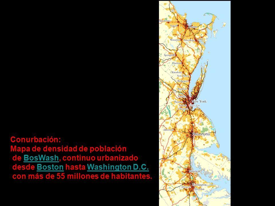 Conurbación:Mapa de densidad de población. de BosWash, continuo urbanizado. desde Boston hasta Washington D.C.