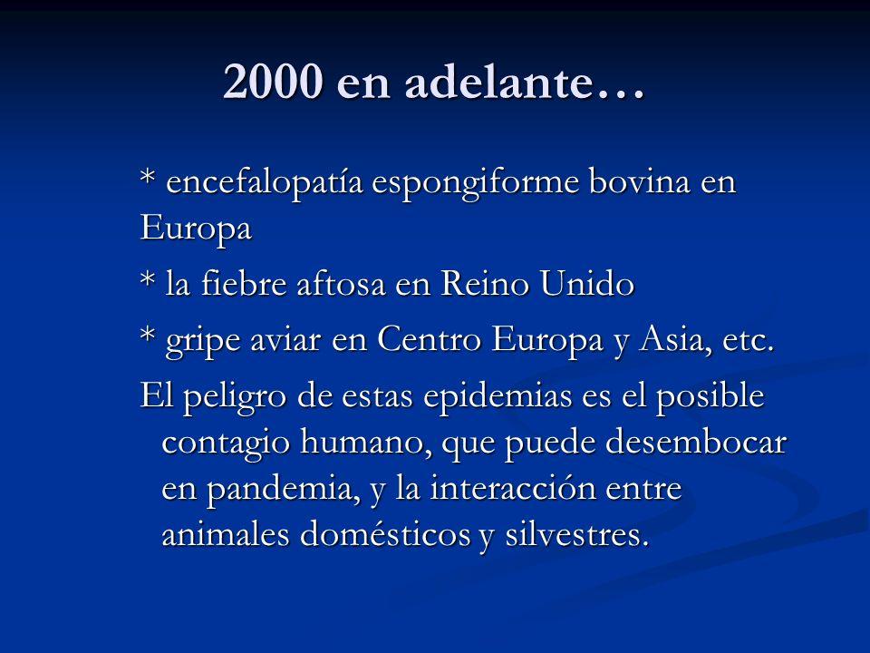 2000 en adelante… * encefalopatía espongiforme bovina en Europa