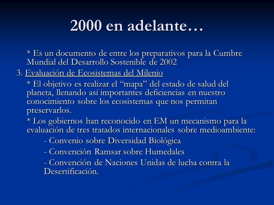2000 en adelante… * Es un documento de entre los preparativos para la Cumbre Mundial del Desarrollo Sostenible de 2002.
