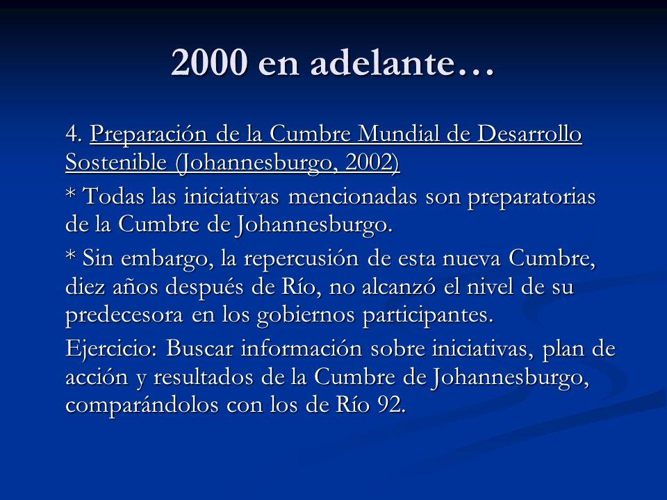 2000 en adelante… 4. Preparación de la Cumbre Mundial de Desarrollo Sostenible (Johannesburgo, 2002)