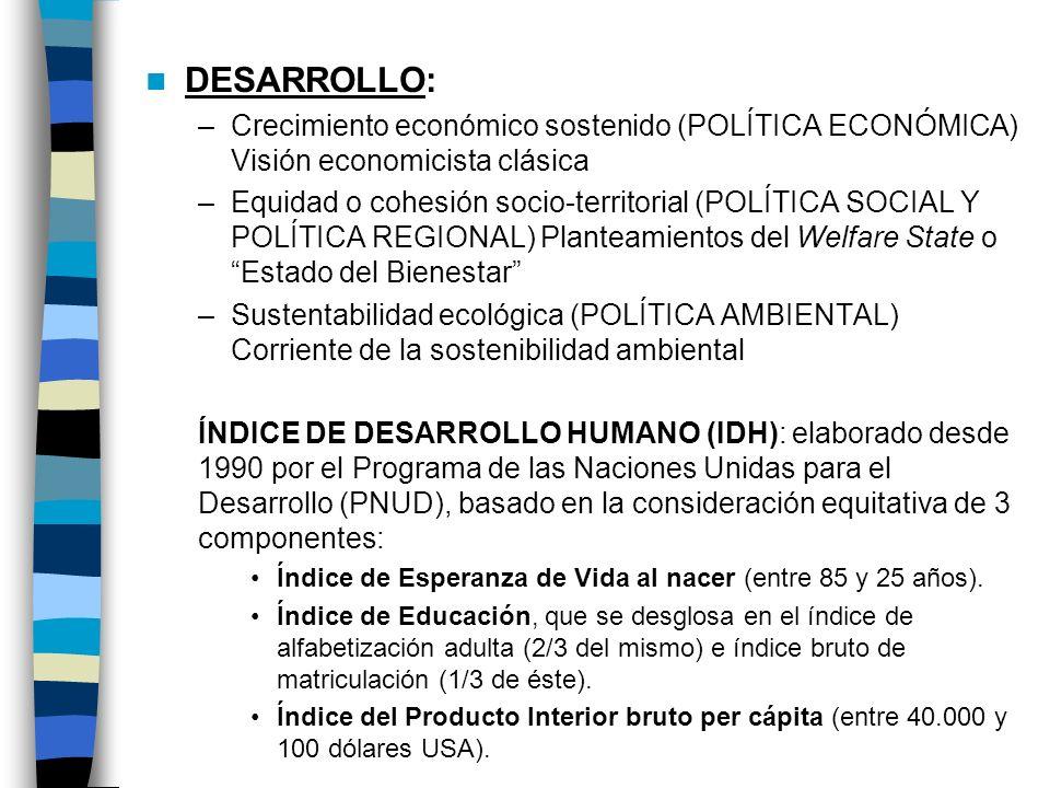 DESARROLLO: Crecimiento económico sostenido (POLÍTICA ECONÓMICA) Visión economicista clásica.