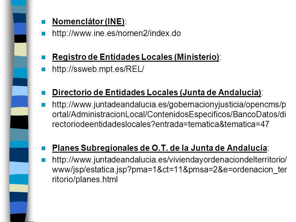 Nomenclátor (INE):http://www.ine.es/nomen2/index.do. Registro de Entidades Locales (Ministerio): http://ssweb.mpt.es/REL/