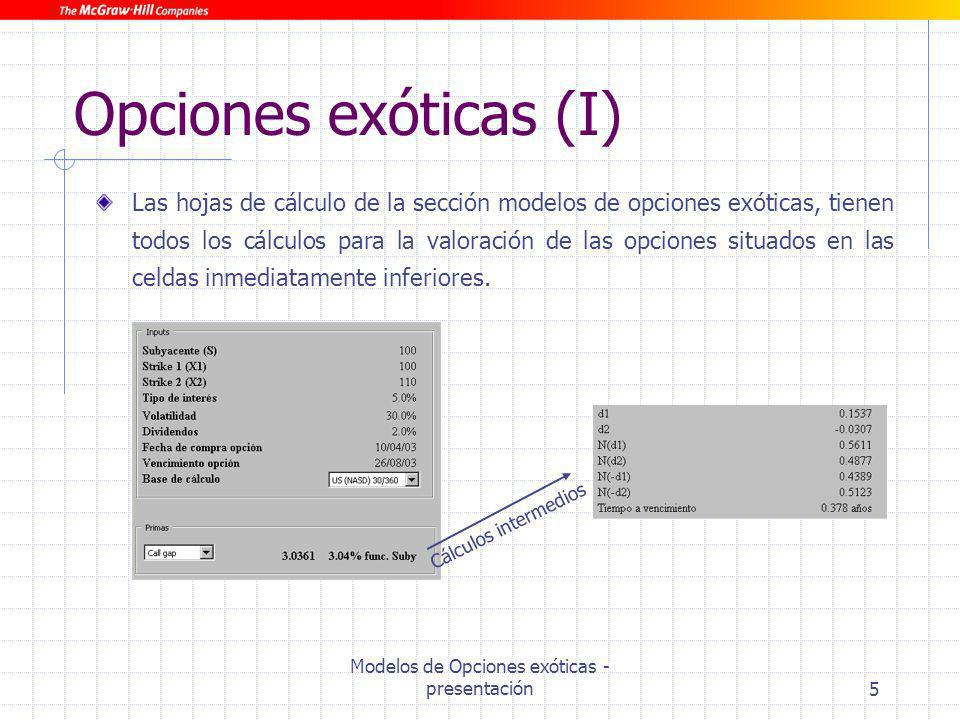 Modelos de Opciones exóticas - presentación