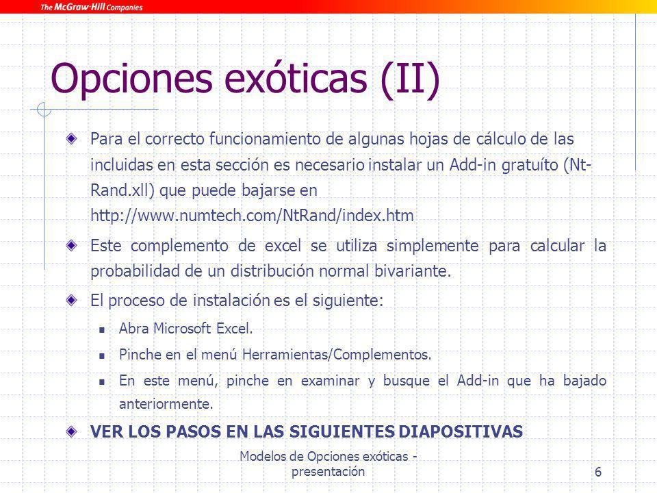 Opciones exóticas (II)