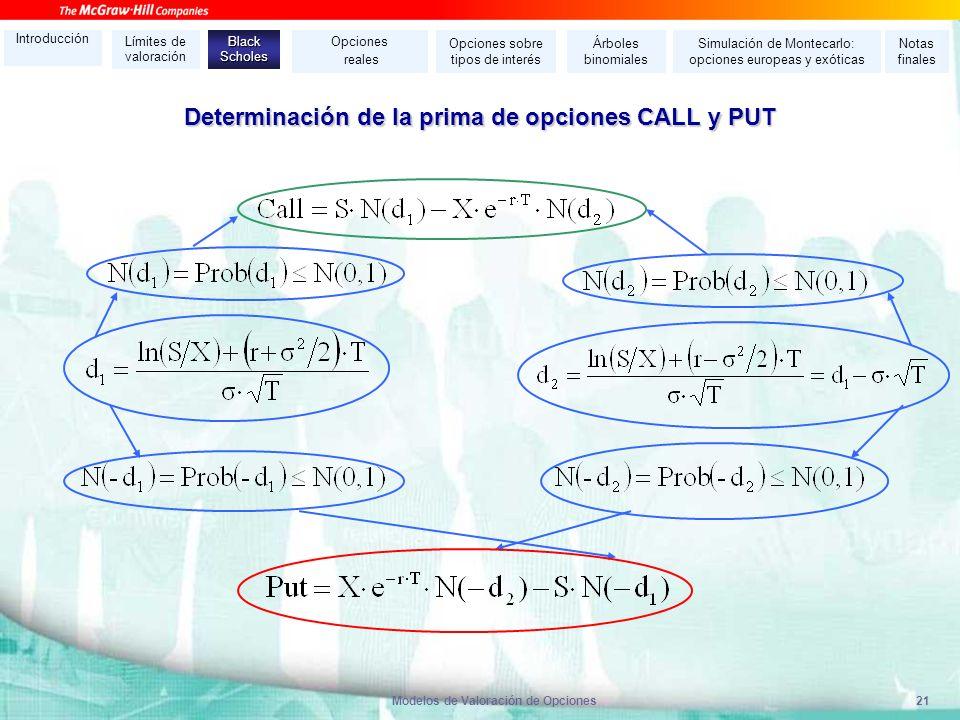 Determinación de la prima de opciones CALL y PUT