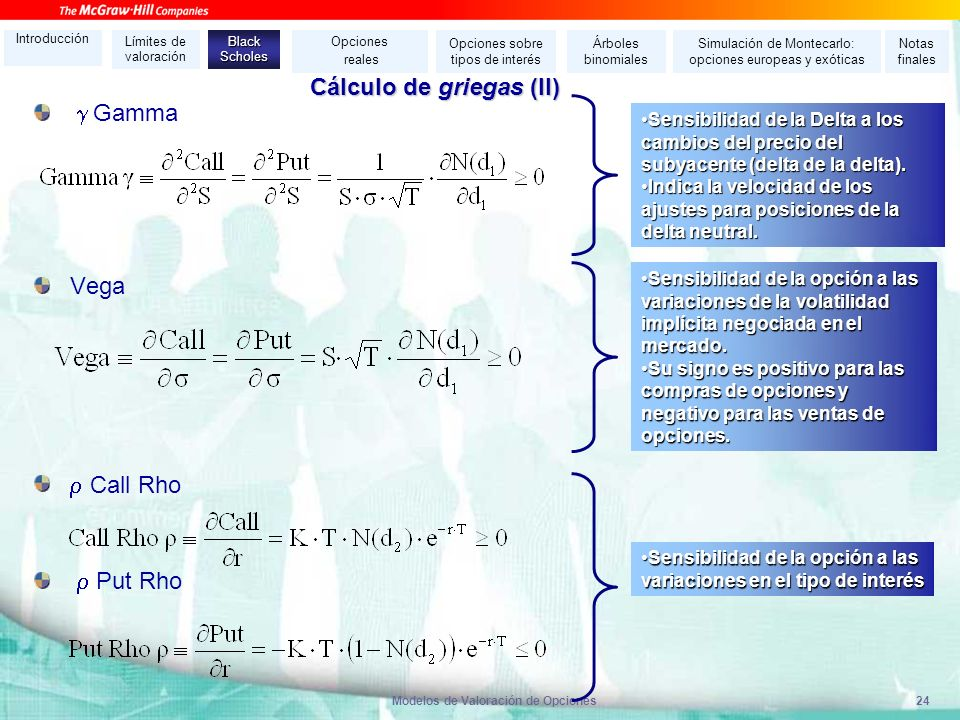 Cálculo de griegas (II)