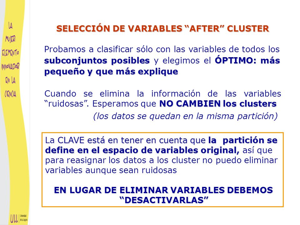 SELECCIÓN DE VARIABLES AFTER CLUSTER
