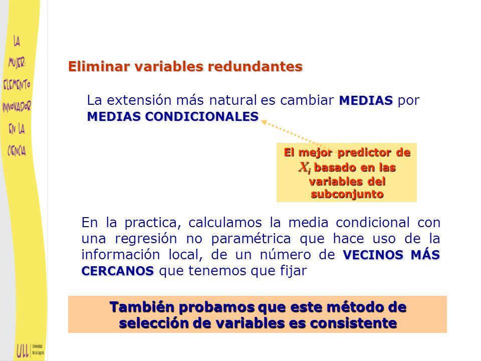 El mejor predictor de Xi basado en las variables del subconjunto