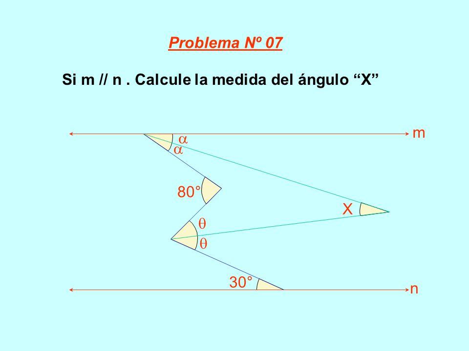 Problema Nº 07 Si m // n . Calcule la medida del ángulo X 80° 30°   X m n