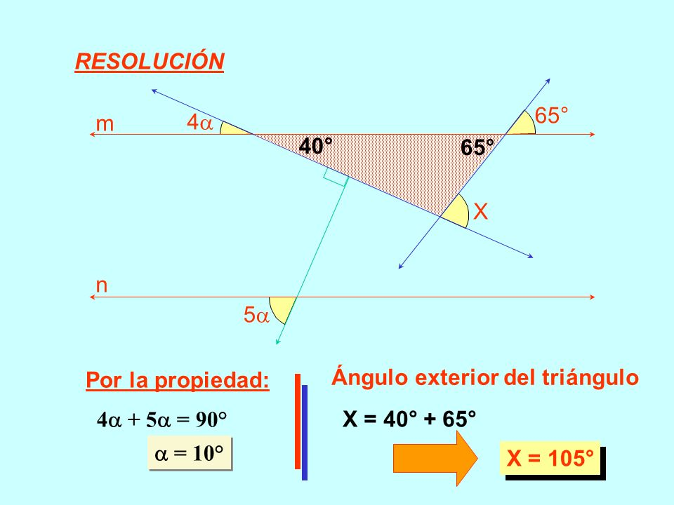 RESOLUCIÓN5 4 65° X. m. n. 40° 65° Por la propiedad: Ángulo exterior del triángulo. 4 + 5 = 90°