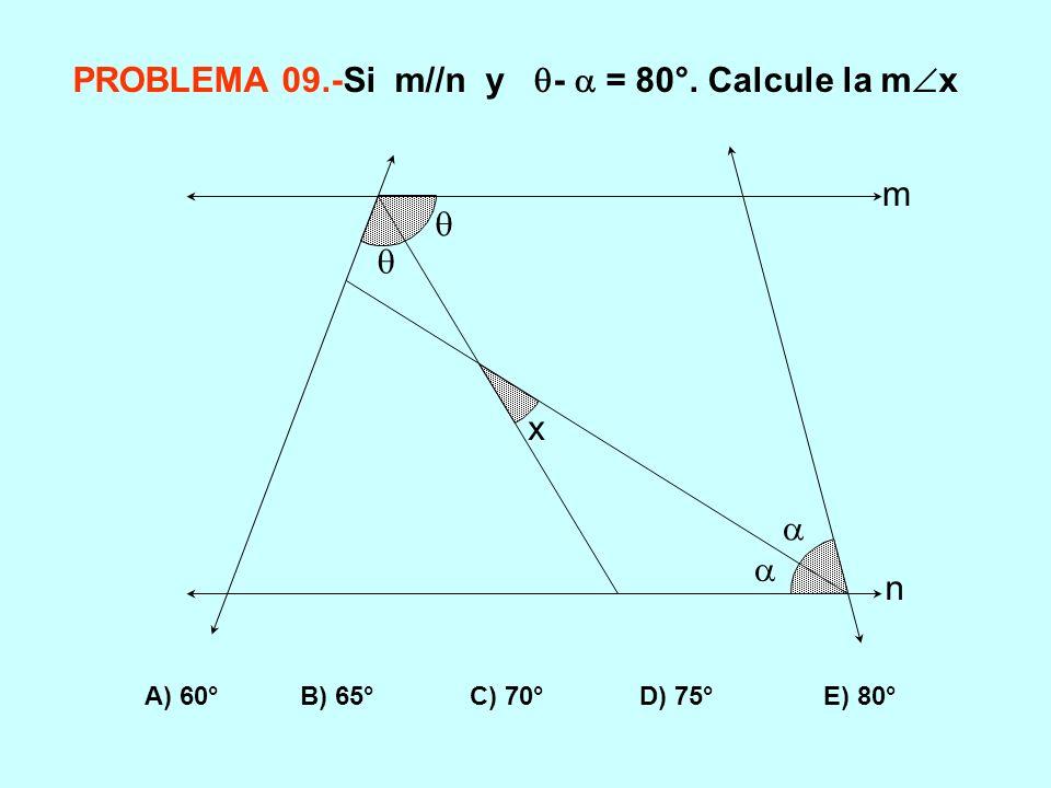 PROBLEMA 09.-Si m//n y -  = 80°. Calcule la mx