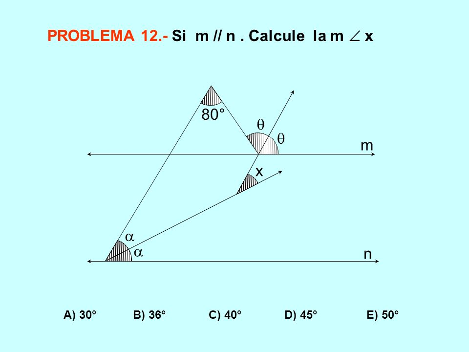 PROBLEMA 12.- Si m // n . Calcule la m  x