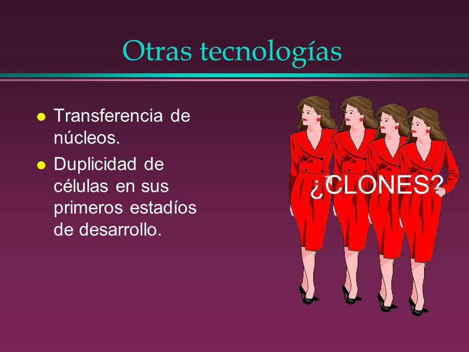 Otras tecnologías ¿CLONES Transferencia de núcleos.