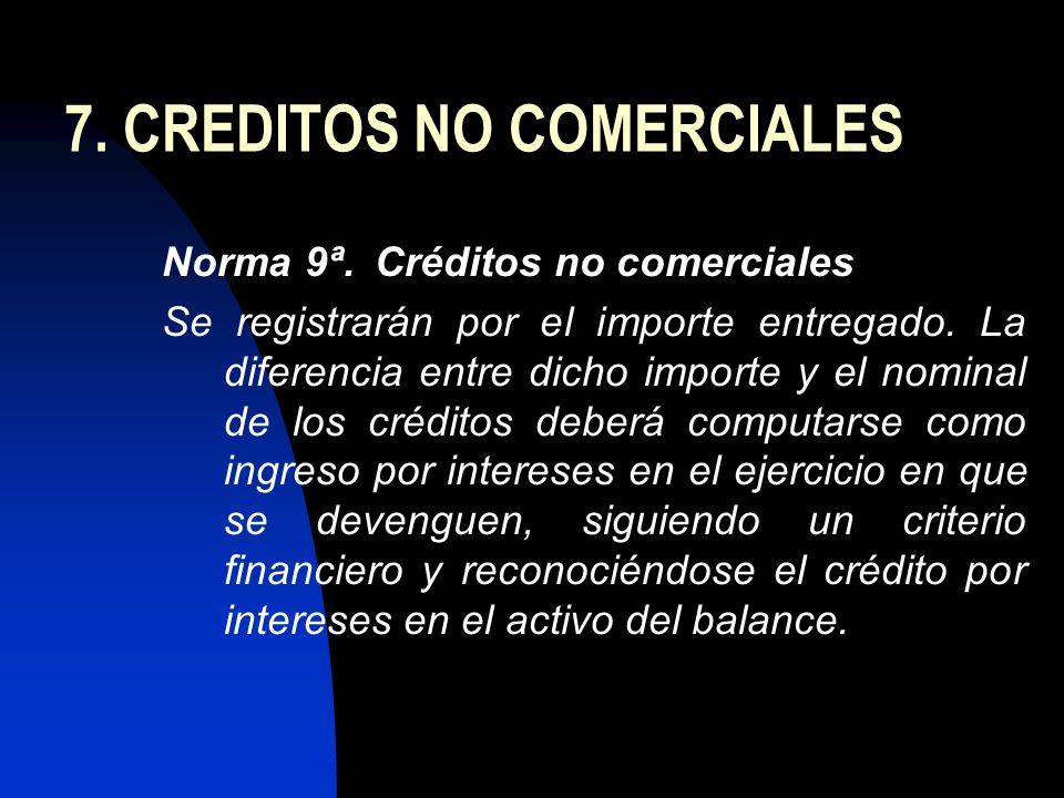 7. CREDITOS NO COMERCIALES