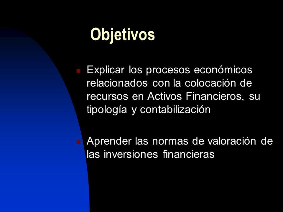 ObjetivosExplicar los procesos económicos relacionados con la colocación de recursos en Activos Financieros, su tipología y contabilización.