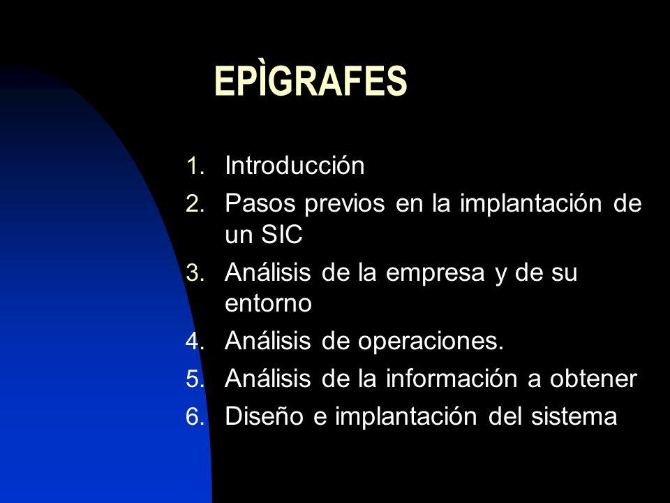EPÌGRAFES Introducción Pasos previos en la implantación de un SIC