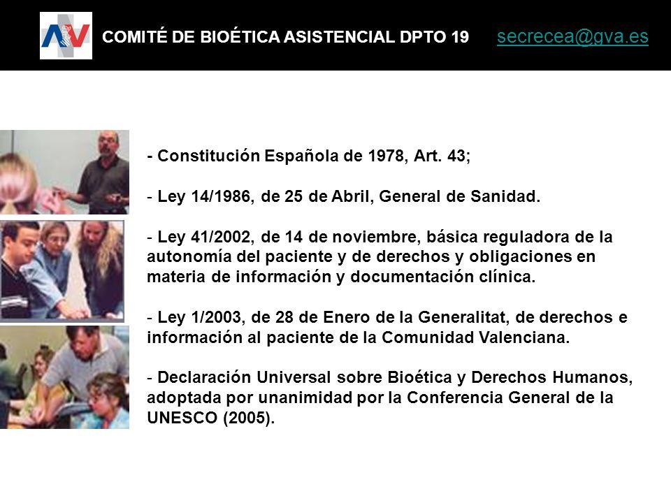 COMITÉ DE BIOÉTICA ASISTENCIAL DPTO 19 secrecea@gva.es