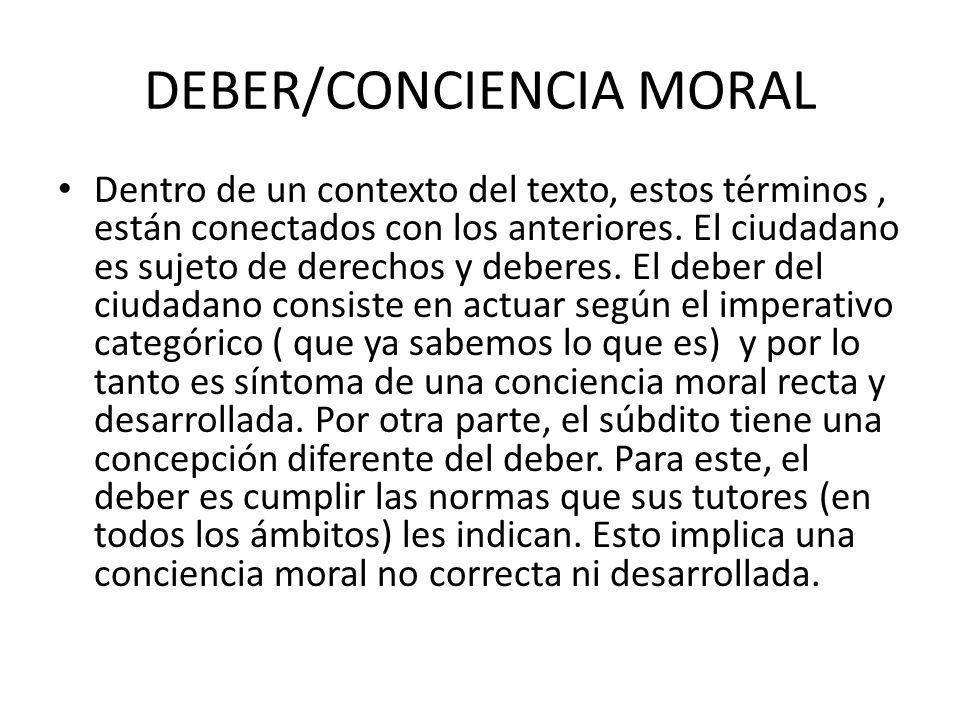 DEBER/CONCIENCIA MORAL