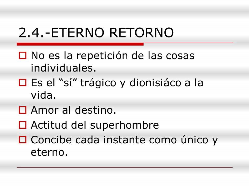 2.4.-ETERNO RETORNO No es la repetición de las cosas individuales.