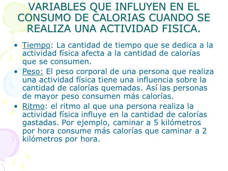 VARIABLES QUE INFLUYEN EN EL CONSUMO DE CALORIAS CUANDO SE REALIZA UNA ACTIVIDAD FISICA.