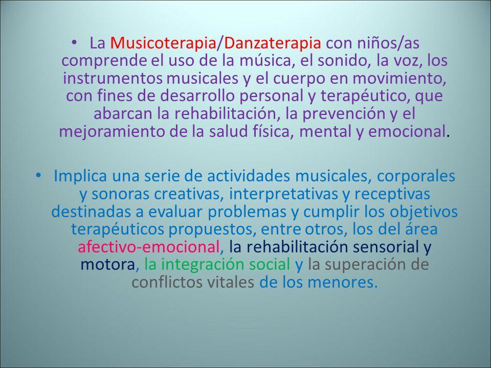 La Musicoterapia/Danzaterapia con niños/as comprende el uso de la música, el sonido, la voz, los instrumentos musicales y el cuerpo en movimiento, con fines de desarrollo personal y terapéutico, que abarcan la rehabilitación, la prevención y el mejoramiento de la salud física, mental y emocional.