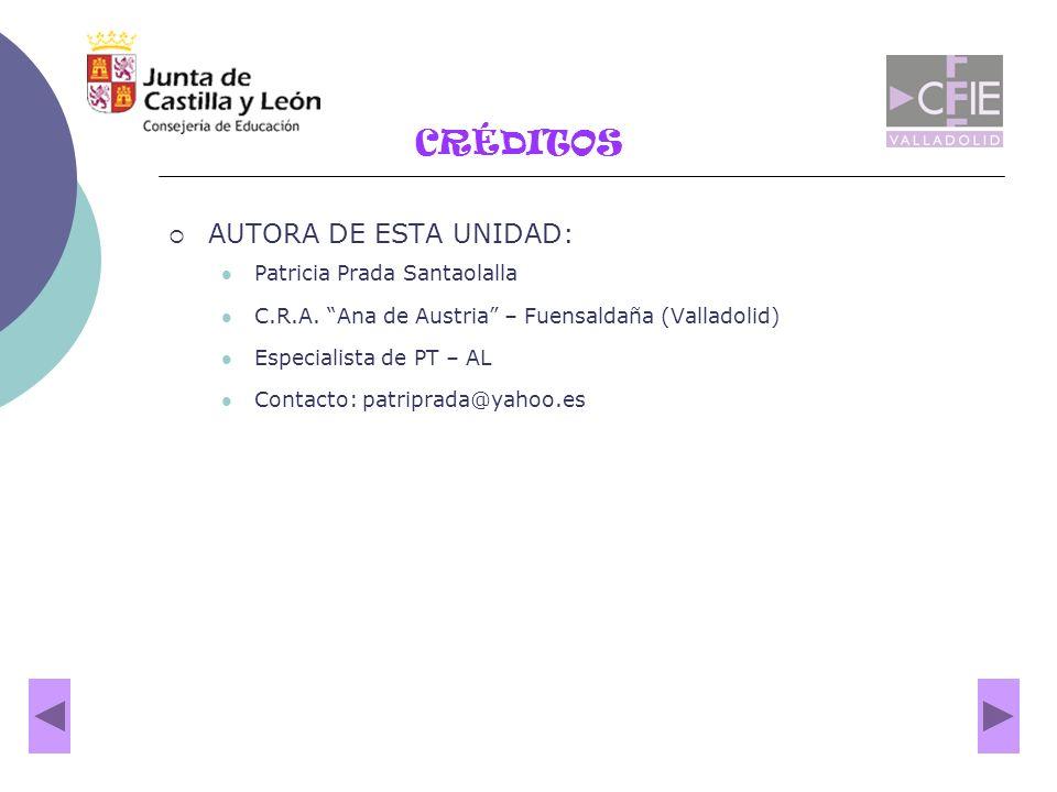 CRÉDITOS AUTORA DE ESTA UNIDAD: Patricia Prada Santaolalla